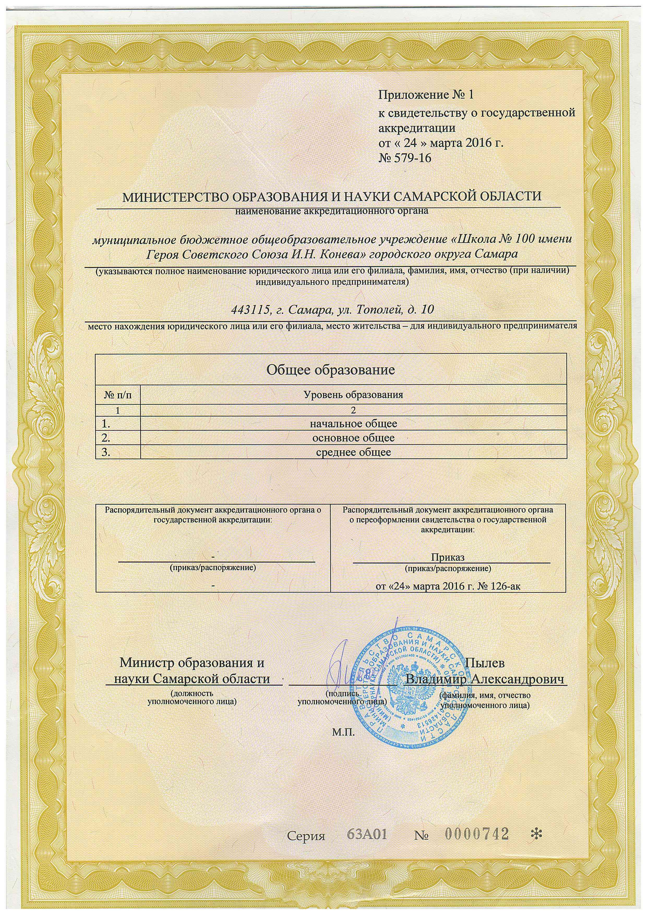Приложение №1 к свидетельству об аккредитации